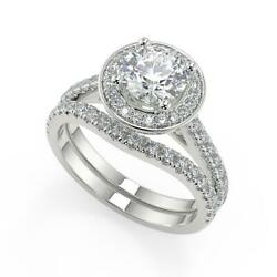 2.15 Ct Round Cut Halo French Pave Diamond Engagement Ring Set Si1 F White Gold