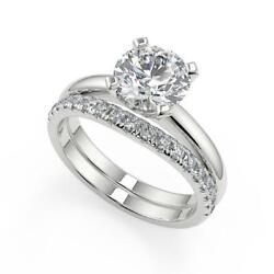 1.5 Ct Round Cut Four Prong Solitaire Diamond Engagement Ring Set Si2 H 18k
