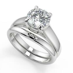 0.75 Ct Round Cut 4 Prong Claw Solitaire Diamond Engagement Ring Set Vvs2 F 14k