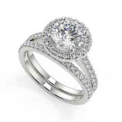 2.25 Ct Round Cut Halo Pave Diamond Engagement Ring Set Si2 D White Gold 18k