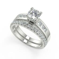 2.15 Ct Round Cut Four Prong Channel Set Diamond Engagement Ring Set Si2 F 14k