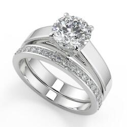 1.5 Ct Round Cut 4 Prong Solitaire Diamond Engagement Ring Set Vs1 F White Gold