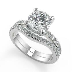 2.2 Ct Round Cut Micro French Pave Classic Diamond Engagement Ring Set Si1 G 18k