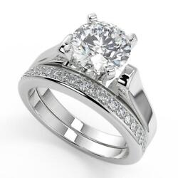 1.7 Ct Round Cut 4 Prong Cathedral Solitaire Diamond Engagement Ring Set Si2 F