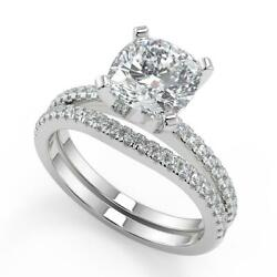 2.1 Ct Cushion Cut French Pave Classic Diamond Engagement Ring Set Si1 F 14k