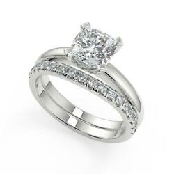 1.6 Ct Cushion Cut Four Prong Solitaire Diamond Engagement Ring Set Si2 F 14k