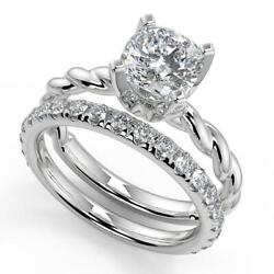 1.95 Ct Cushion Cut Twisted Rope Solitaire Diamond Engagement Ring Set Si2 G 14k