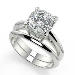 1 Ct Cushion Cut 4 Prong Solitaire Diamond Engagement Ring Set Si1 F White Gold