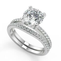 1.6 Ct Round Cut French Pave Classic Diamond Engagement Ring Set Vs1 H 18k