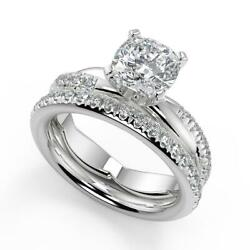 2.05 Ct Cushion Cut Pave Twist Infinity Rope Diamond Engagement Ring Set Si2 D