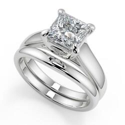 0.9 Ct Princess Cut 4 Prong Claw Solitaire Diamond Engagement Ring Set Si2 G 18k