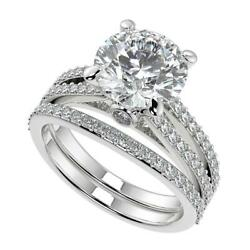 2.5 Ct Round Cut Double French Split Shank Diamond Engagement Ring Set Si1 F 18k