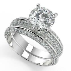 2 Ct Round Cut Knife Edge Pave Double Sided Diamond Engagement Ring Set Si1 D