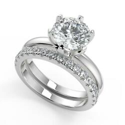 1.45 Ct Round Cut 6 Prong Solitaire Diamond Engagement Ring Set Vs2 D White Gold