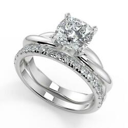 1.95 Ct Cushion Cut Infinity Solitaire Rope Diamond Engagement Ring Set Si2 G