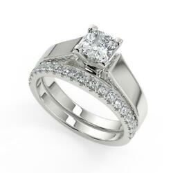 1.55 Ct Cushion Cut Cathedral Solitaire Diamond Engagement Ring Set Vs1 H 14k