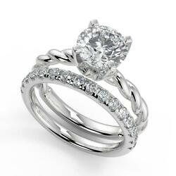 1.5 Ct Round Cut Twisted Rope Solitaire Diamond Engagement Ring Set Vs2 F 18k