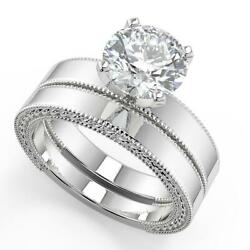 1 Ct Round Cut Hand Carved Milgrain Diamond Engagement Ring Set Si2 D White Gold