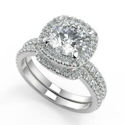 2.55 Ct Round Cut Micro Pave Halo Diamond Engagement Ring Set Si1 G White Gold