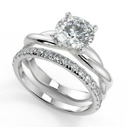 1.6 Ct Round Cut Infinity Solitaire Rope Diamond Engagement Ring Set Vs2 H 14k