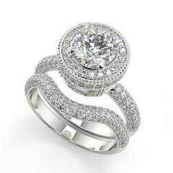 2.75 Ct Round Cut Halo Micro Pave Diamond Engagement Ring Set Si2 D White Gold