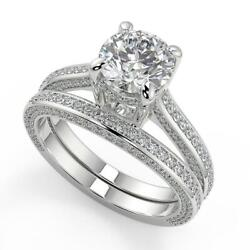 3.15 Ct Round Cut Micro Pave Double Prong Diamond Engagement Ring Set Si1 F 14k
