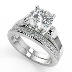 3.05 Ct Round Cut 4 Prong Cathedral Solitaire Diamond Engagement Ring Set Si1 F