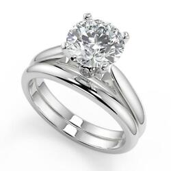 1.05 Ct Round Cut Classic Cathedral Solitaire Diamond Engagement Ring Set Vs2 H