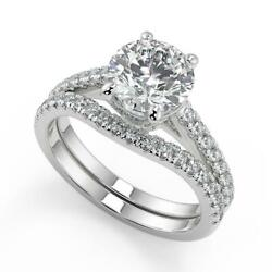1.55 Ct Round Cut Classic 4 Prong Pave Diamond Engagement Ring Set Si2 H 14k