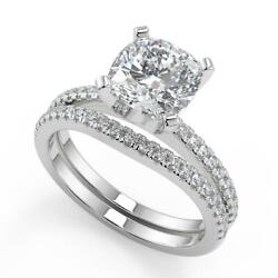1.85 Ct Cushion Cut French Pave Classic Diamond Engagement Ring Set Si2 H 18k