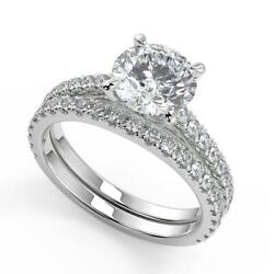 2.1 Ct Round Cut Classic 4 Prong Diamond Engagement Ring Set Si2 F White Gold
