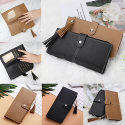 Long Leather Wallet for Women Lady Trifold Card Clutch Phone Bag Purse Handbag $8.53
