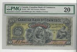 1907 Canadian Bank Of Commerce 10 / Cat751424 Sn 083083 Pmg Vf-20
