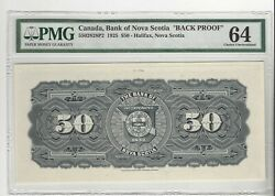 1925 Canada Bank Of Nova Scotia 50 / Cat5502828p1 And 2 Pmg-64 Fr And Back Proof