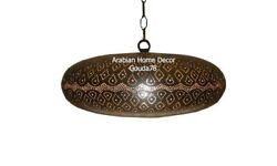 Handcrafted Moroccan Bronze Finish Brass 18 Wide Hanging Lamp Light Lantern