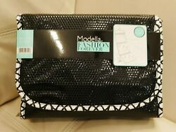 NEW WT MODELLA COSMETIC MAKE UP TRAVEL BAG LARGE BLACK WITH HANGER FITTED VALET $22.00