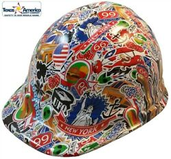 Route 66 Sticker Bomb Hydro Dipped Cap Style Hard Hat With Ratchet Suspension