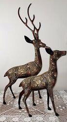Two Vintage Solid Brass Gold Multicolored Deer From India