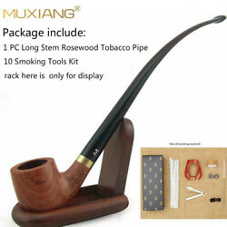 Muxiang Churchwarden Pipe Long Rosewood Tobacco Smoking Pipe With Acrylic Stem