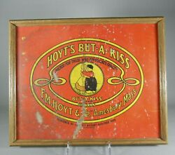 Antique Lithographed Tin Sign -- Hoyt's But-a-kiss Candy, Framed