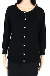 Evolution Womens Sweater Black Large L Rhinestone Flower Button Cardigan $68 751