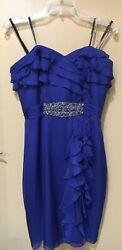 Badgley Mischka Collection Embellished Strapless Ruffle Blue Dress Size 6
