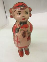 Vintage Lindstrom Walking Betty Tin Toy Wind Up  536-f