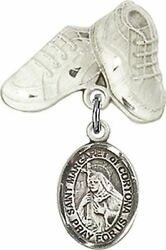 Sterling Silver Baby Badge Baby Boots Pin With Saint Margaret Of Cortona Charm,