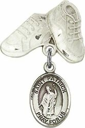 Sterling Silver Baby Badge Baby Boots Pin With Saint Patrick Charm, 3/4 Inch