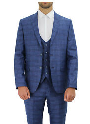 Menand039s Edwards Three Piece Check Suit 500102 - Blue/black