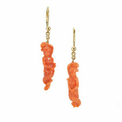 Gia Certified Carved Coral Yellow Gold Mermaid Dangle Earrings