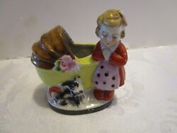 Porcelain Girl Pushing Baby Carriage And Dog Figurine Toothpick Holder 3.25 Vtg