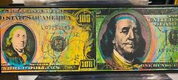 Steve Kaufman Double New And Old Franklin 100 Original Oil Painting Autographed