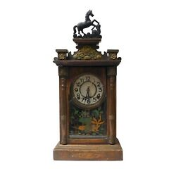 Vintage Chinese Pendulum Clock Metal Horse, Double Happiness And Fish Art N356